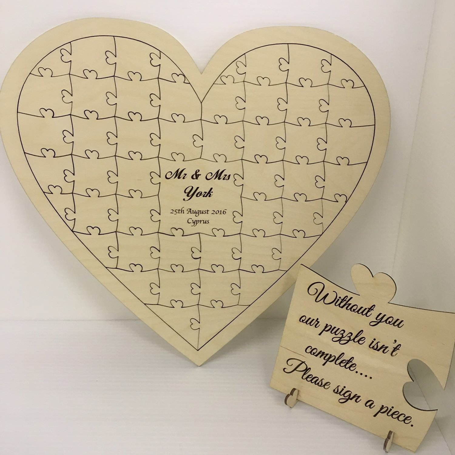 Personalised Birch Plywood 40 Piece Heart Shaped Wedding