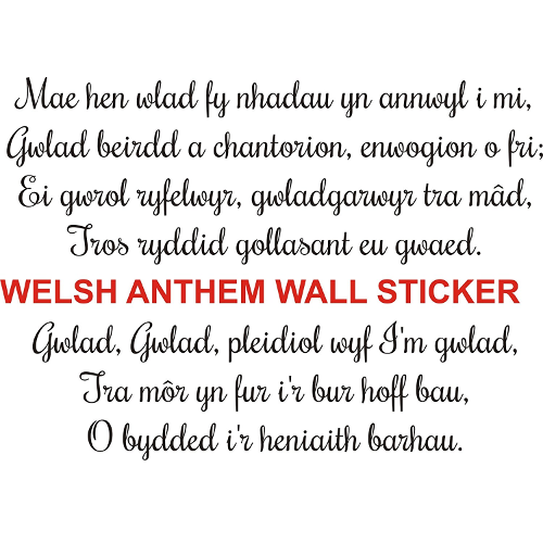 Welsh national anthem wall art sticker